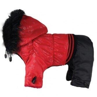czerwony kombinezon zimowy